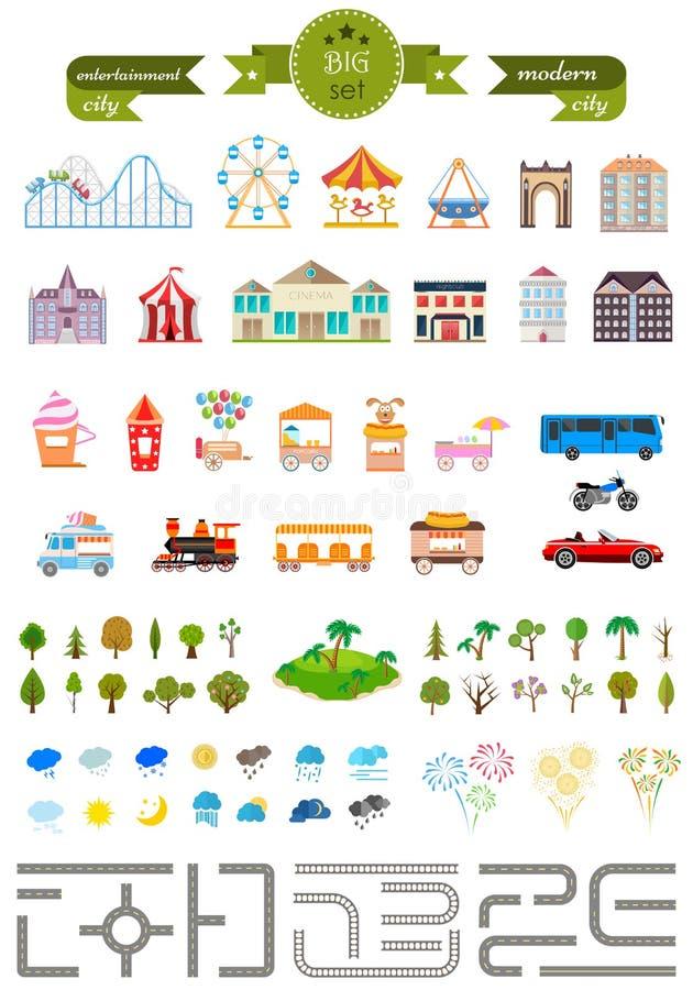 Ensemble d'éléments pour créer votre propre ville moderne illustration stock