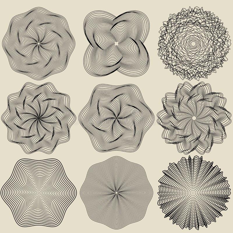 Ensemble d'éléments pour la conception Rosettes rondes, spirales, vortex et vortexes pour le logo, les invitations, les diplômes  illustration stock