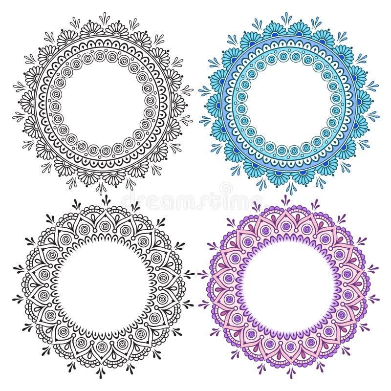 Ensemble d'éléments rond abstrait tiré par la main de conception Mandala fleuri de dentelle ronde indienne décorative Conception  illustration de vecteur