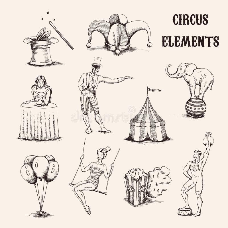 Ensemble d'éléments tiré par la main de cirque de vecteur Acrobate, éléphant, maïs éclaté, baloons, chapeau de cilinder et baguet photo stock