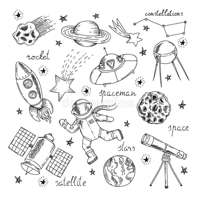 Download Ensemble D'éléments Tiré Par La Main De L'espace Illustration de Vecteur - Illustration du constellation, concept: 77160245