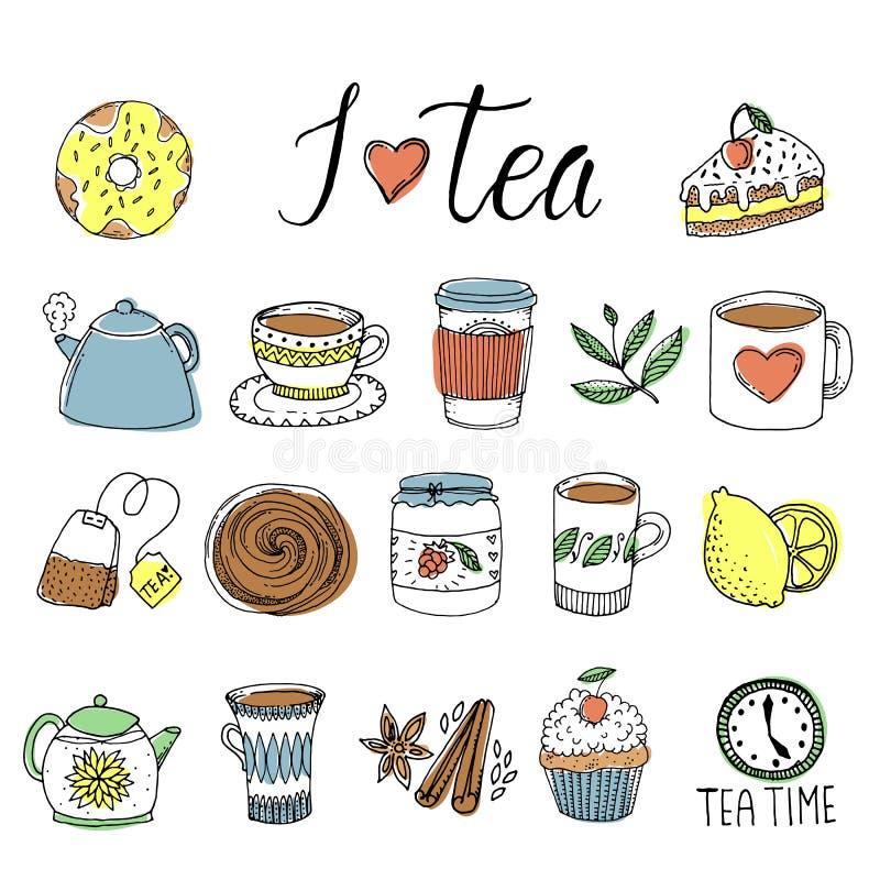 Download Ensemble D'éléments Tiré Par La Main De Thé Illustration de Vecteur - Illustration du café, ramassage: 77160548