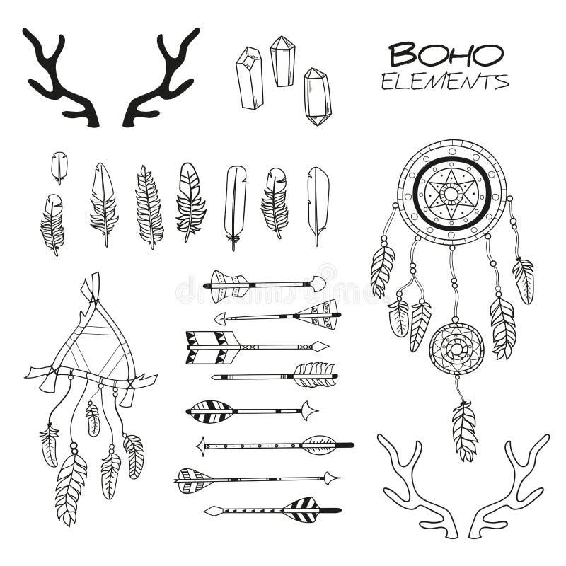 Ensemble d'éléments tirés par la main de Boho illustration stock