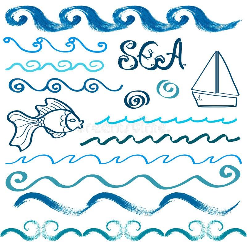 Ensemble d'éléments tirés par la main de conception de mer illustration stock