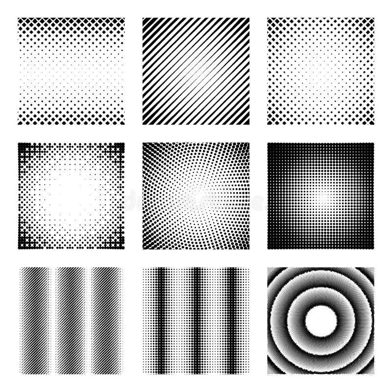 Ensemble d'éléments tramés Les modèles abstraits monochromes pour le DTP, pré-compriment ou des concepts génériques Collection de illustration de vecteur