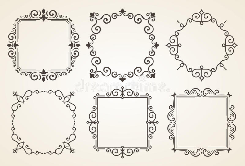 Ensemble d'éléments victoriens et de cadres de décorations de vintage Ornements et cadres calligraphiques de Flourishes Rétro tra illustration de vecteur