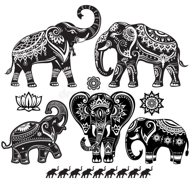 Ensemble d'éléphants décorés illustration stock