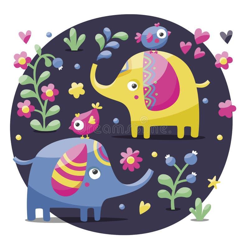 Ensemble d'éléphants mignons avec des oiseaux, des fleurs, des plantes, la feuille et des coeurs illustration de vecteur