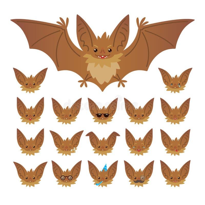 Ensemble d'émoticône de caractère de Hallowen Dirigez l'illustration du vampire mignon et de elle de batte de vol museau batte-à  illustration stock