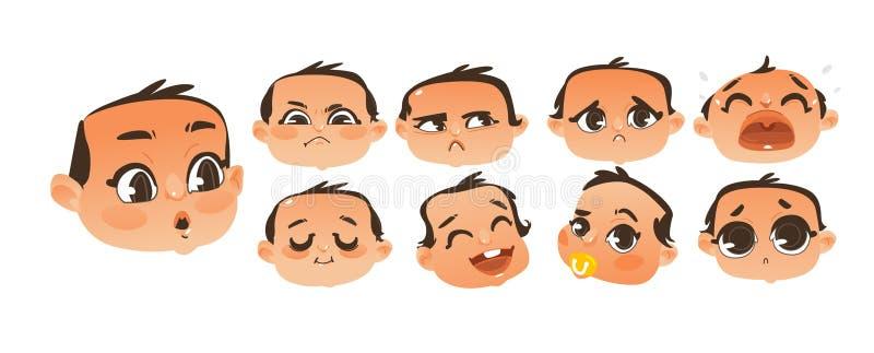 Ensemble d'émoticône plate et comique de bébé garçon, ensemble d'emoji illustration libre de droits