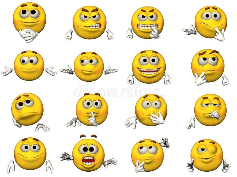 Ensemble d'émoticônes 3D souriantes illustration de vecteur