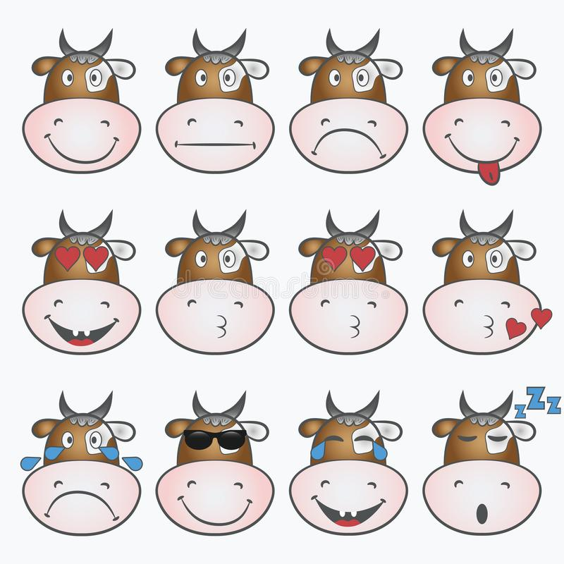 Ensemble d'émoticônes Emoji avec le visage de vache Graphisme souriant Vecteur illustration de vecteur