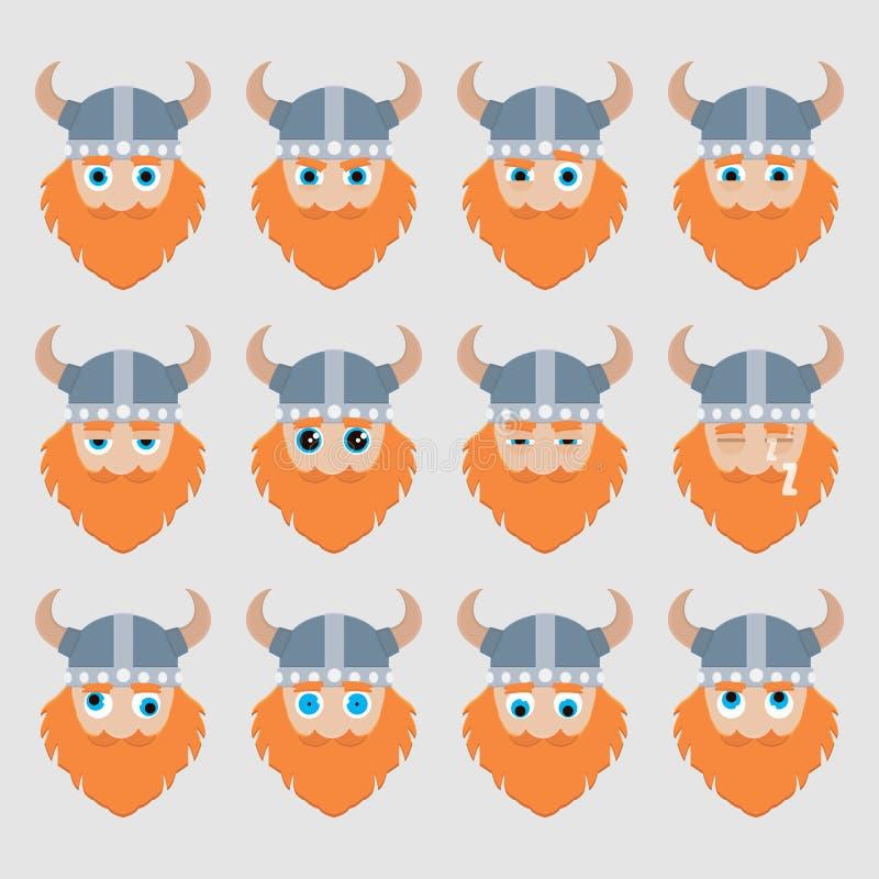 Ensemble d'émoticônes mignonnes de Viking illustration libre de droits