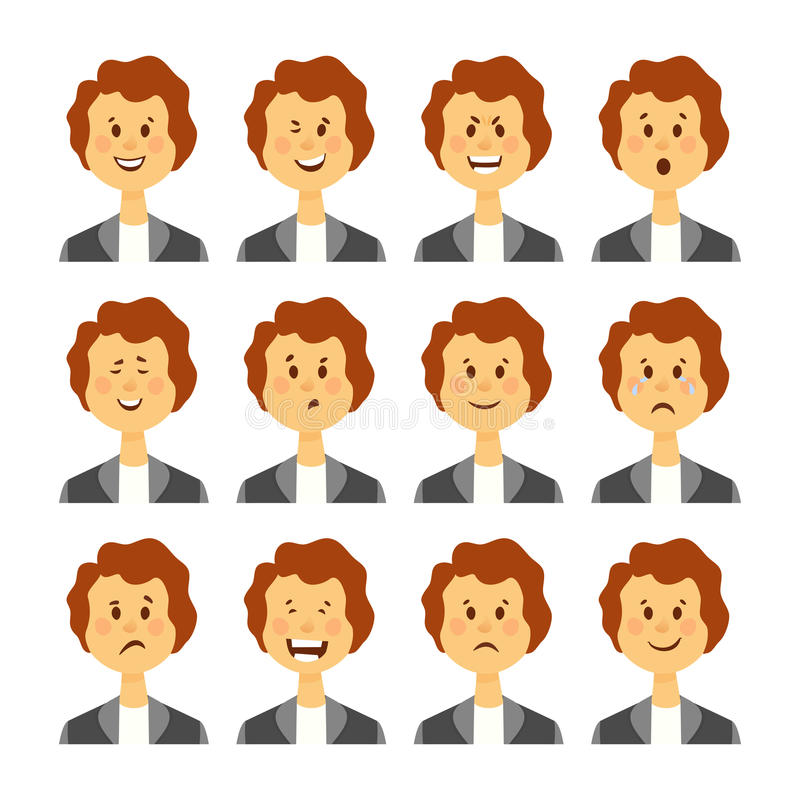 Ensemble d'émotions faciales femelles Caractère barbu d'emoji de femme avec différentes expressions Illustration de vecteur dans  illustration stock