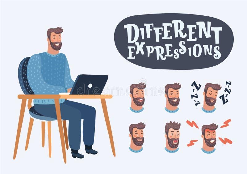 Ensemble d'émotions faciales masculines Homme barbu illustration de vecteur
