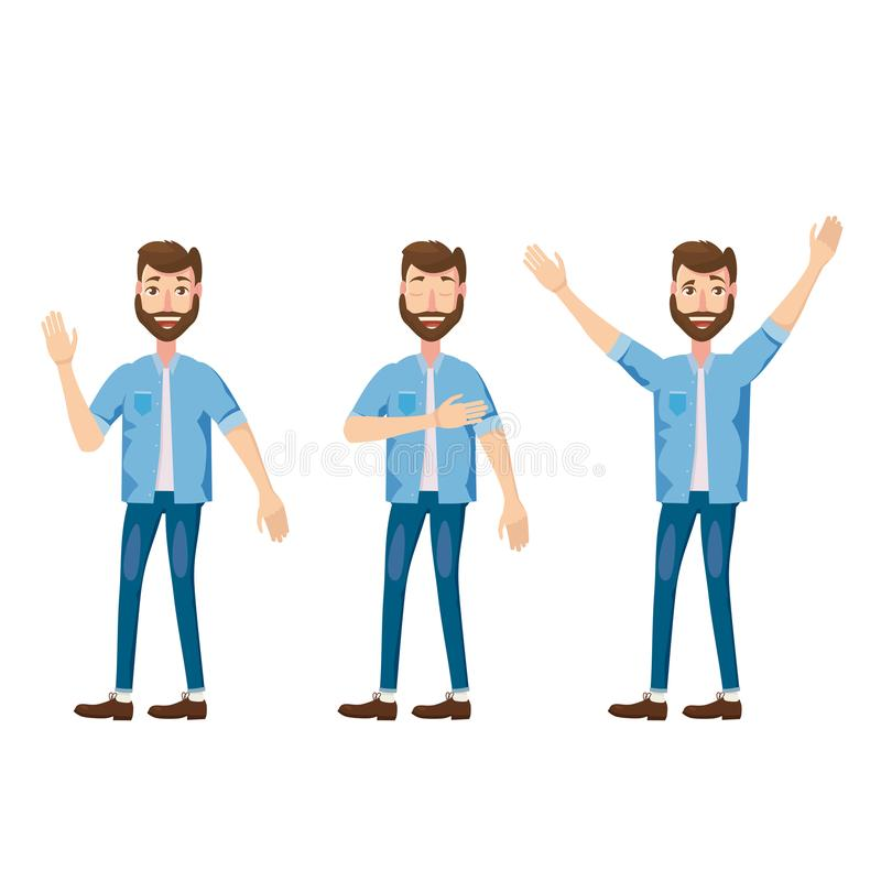 Ensemble d'émotions faciales masculines Le caractère barbu d'emoji d'homme avec différentes expressions pose Illustration de vect illustration libre de droits