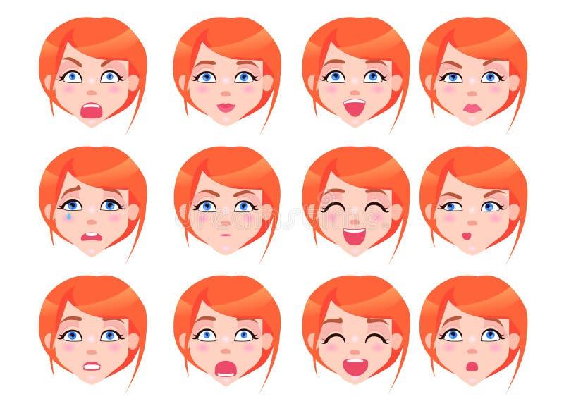 Ensemble d'émotions femelles de fille rousse plates illustration libre de droits