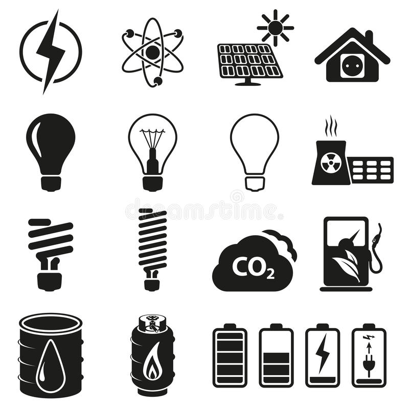 Ensemble d'énergie et d'icône de ressource illustration stock