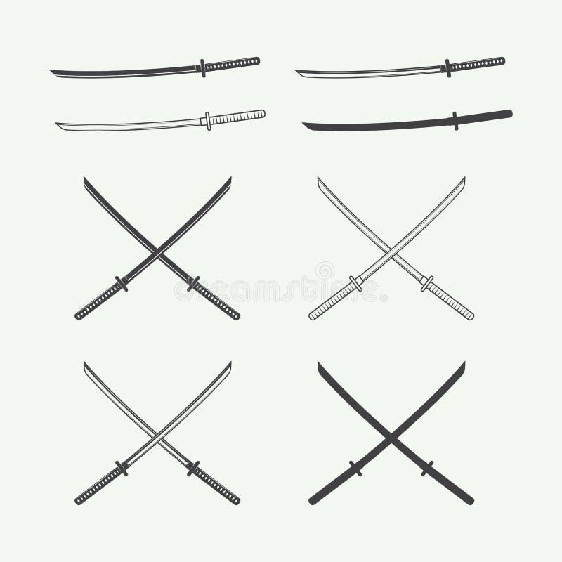 Ensemble d'épées de katana de vintage dans le rétro style illustration de vecteur