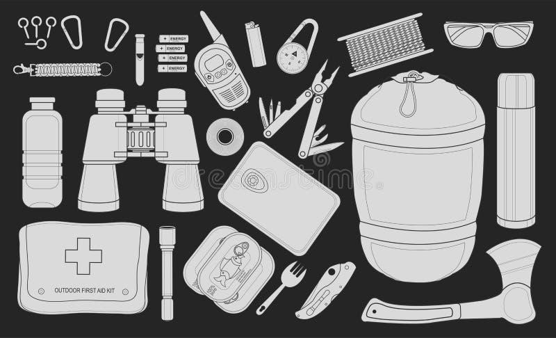 Ensemble d'équipement de camping de survie Craie illustration libre de droits