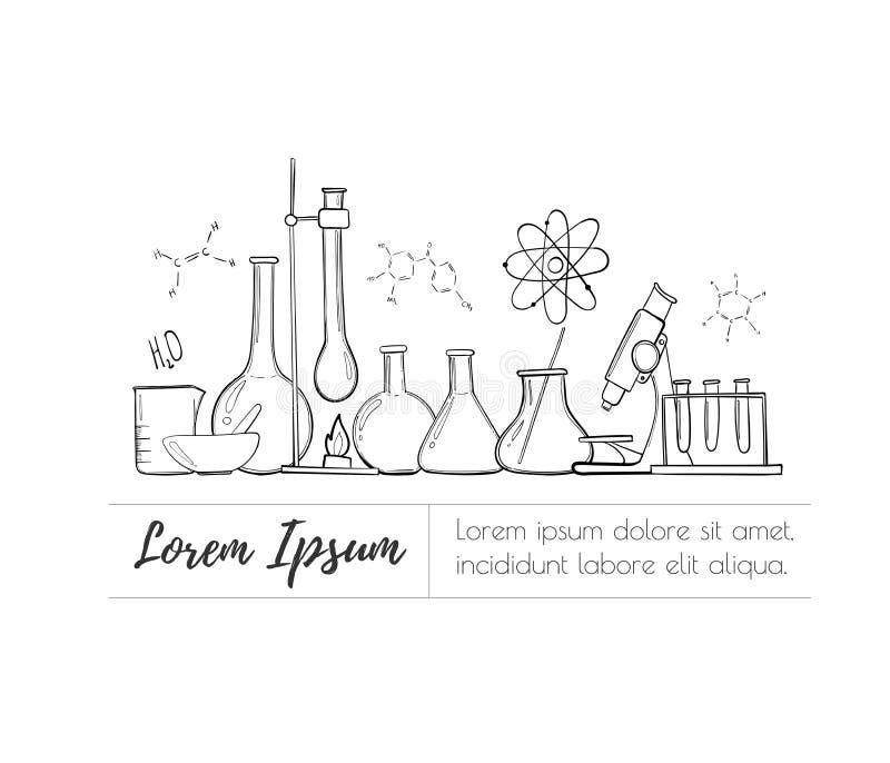 Ensemble d'équipement de laboratoire Chimie de la Science Microscope, flacons en verre et tubes à essai Expériences chimiques for illustration libre de droits