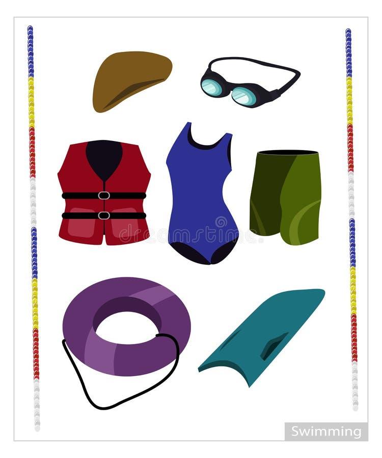 Ensemble d'équipement de natation sur le fond blanc illustration libre de droits