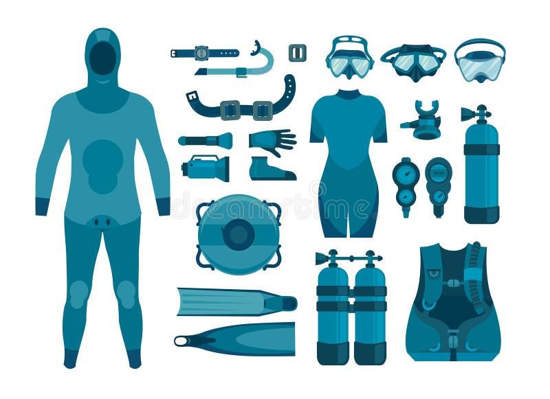 Ensemble d'équipement de plongée à l'air illustration de vecteur