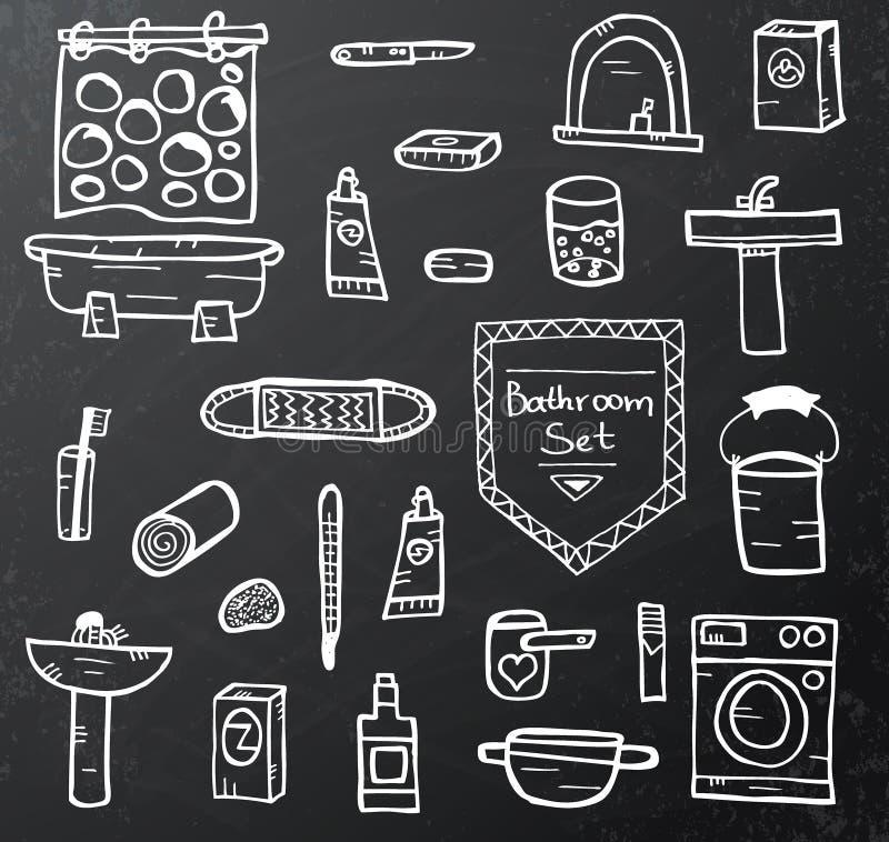 Ensemble d'équipement de salle de bains sur le tableau noir illustration de vecteur
