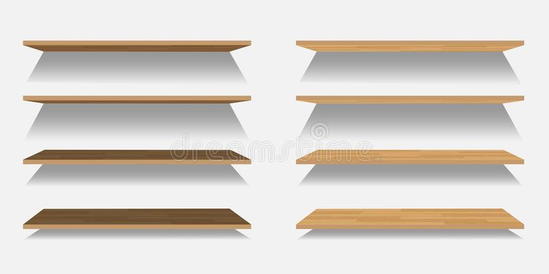 Ensemble d'étagères en bois de vecteur ou en plastique vides d'isolement sur le fond blanc illustration libre de droits