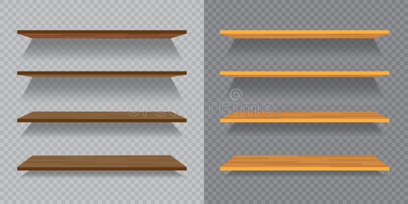 Ensemble d'étagères en bois ou en plastique vides d'isolement sur le fond à carreaux illustration libre de droits