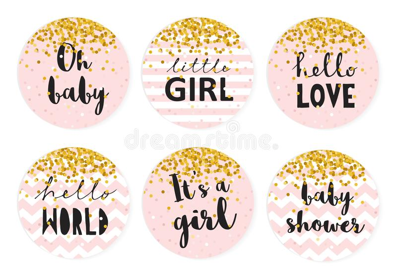 Ensemble d'étiquette de vecteur de friandise de fête de naissance Six étiquettes roses mignonnes de forme de cercle avec les conf illustration de vecteur