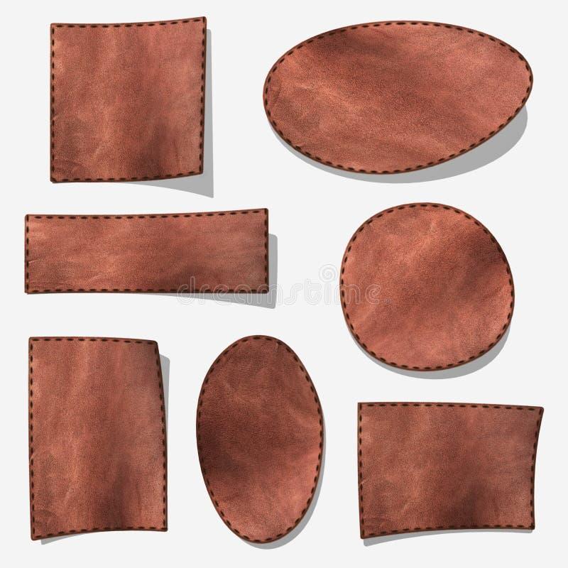 Ensemble d'étiquette en cuir brune illustration libre de droits