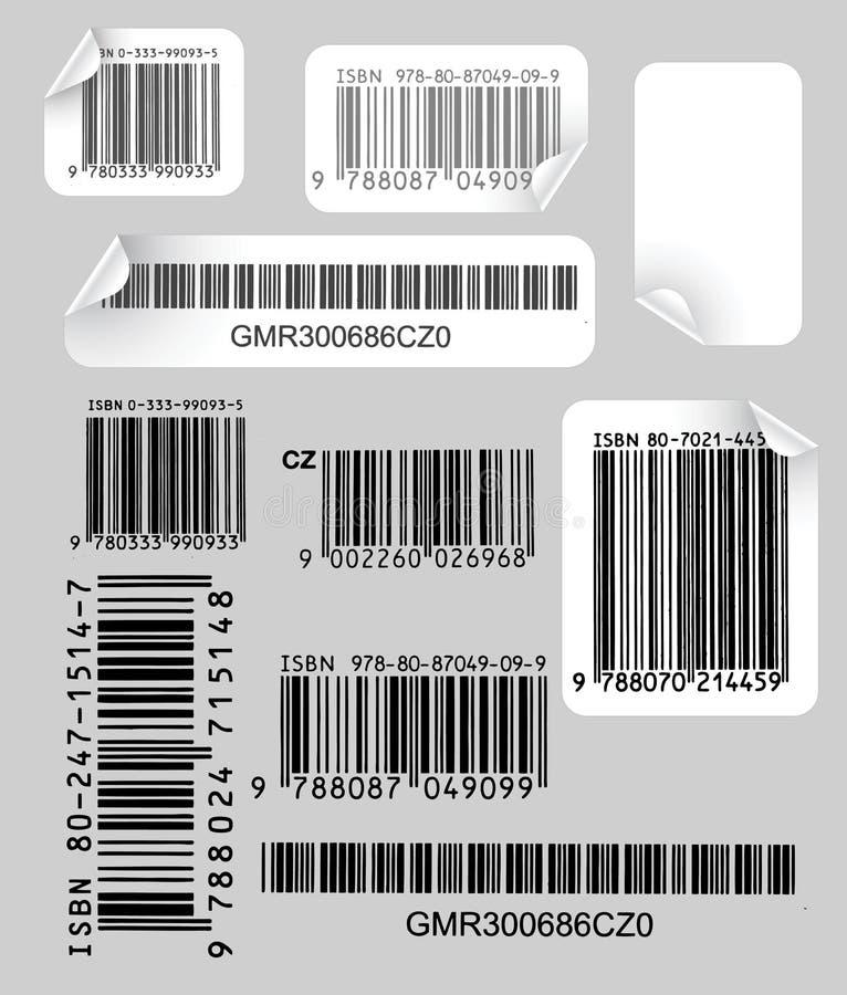 Ensemble d'étiquettes avec des codes à barres illustration de vecteur