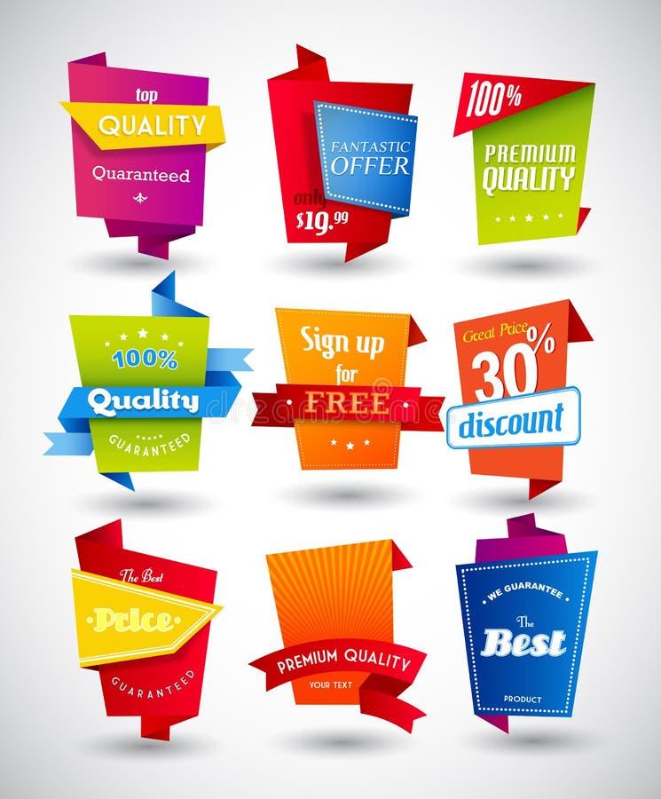 Ensemble d'étiquettes colorées illustration de vecteur