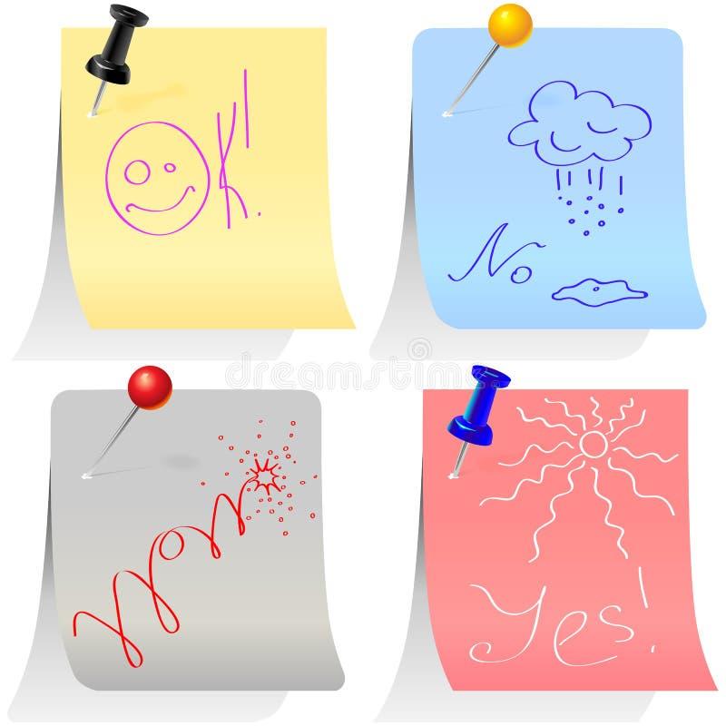 Ensemble d'étiquettes colorées goupillées avec des broches illustration libre de droits