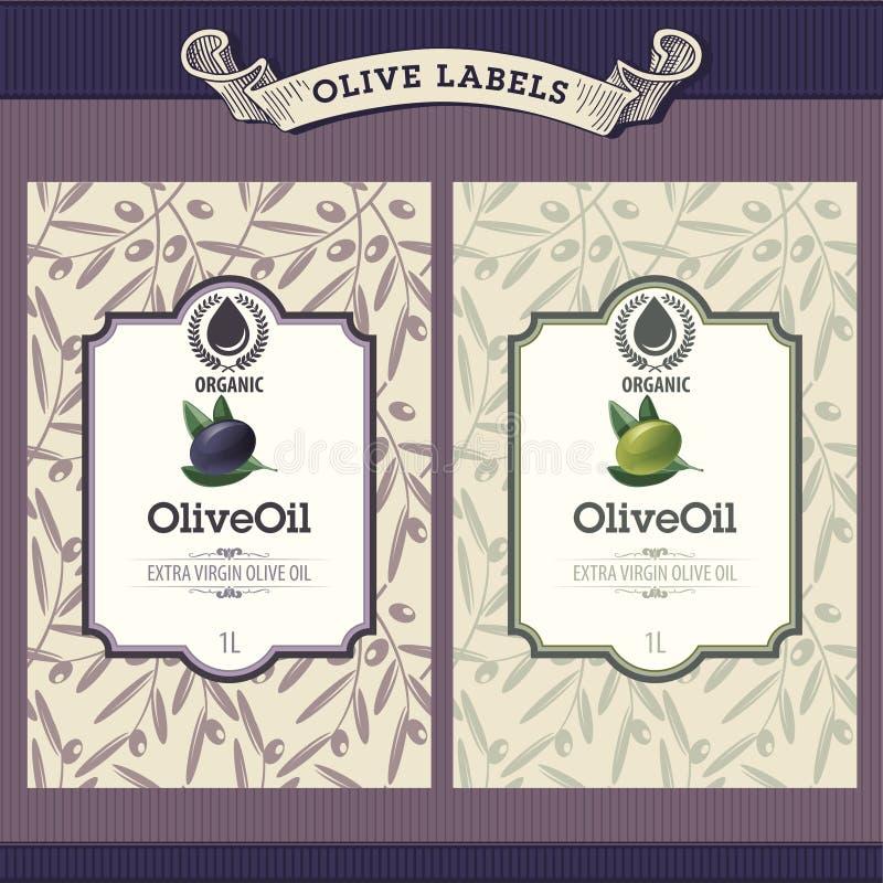 Ensemble d'étiquettes d'huile d'olive illustration de vecteur