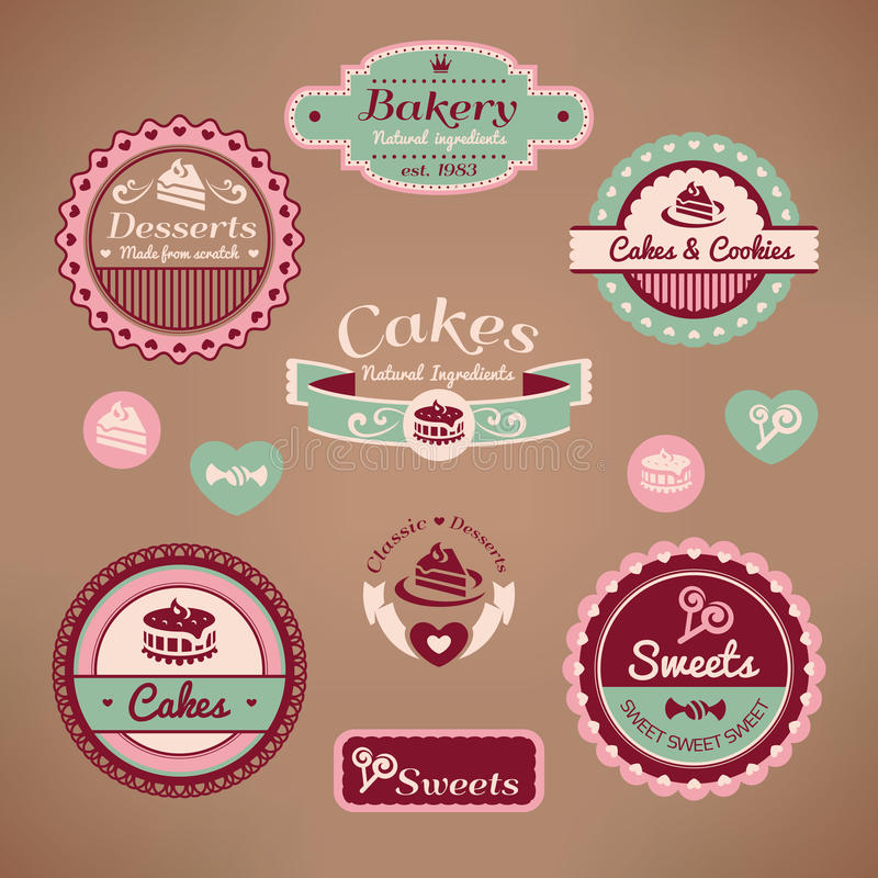 Ensemble d'étiquettes de boulangerie de cru illustration libre de droits