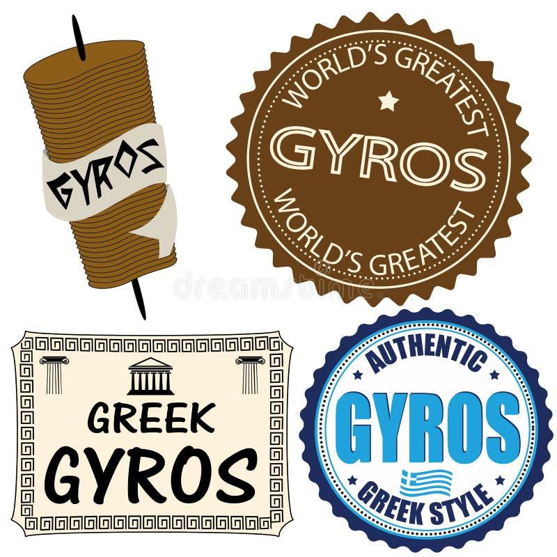 Ensemble d'étiquettes de compas gyroscopiques illustration de vecteur