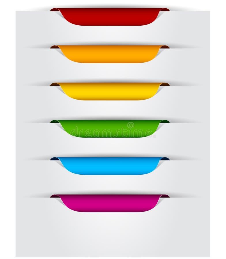 Ensemble d'étiquettes de papier. illustration stock