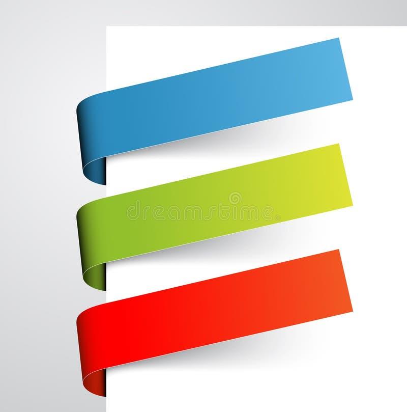 Ensemble d'étiquettes de papier colorées illustration stock
