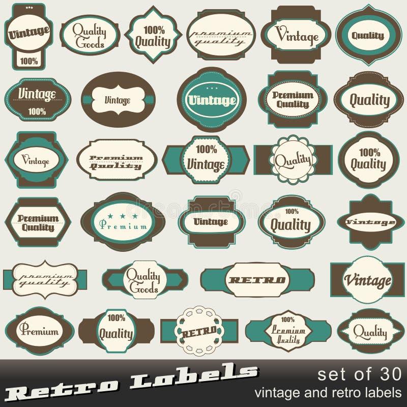 Ensemble d'étiquettes de prime et de qualité de 30 crus illustration de vecteur