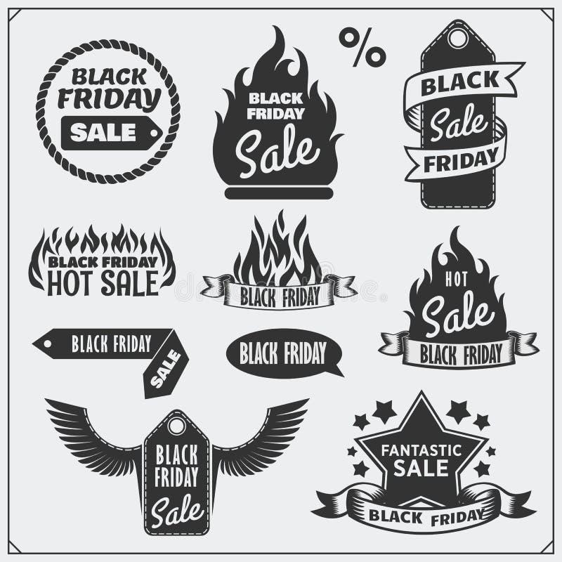Ensemble d'étiquettes de vente de Black Friday, de bannières, d'insignes, de labels et d'éléments de conception illustration libre de droits