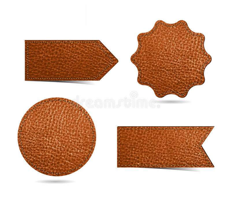 Ensemble d'étiquettes en cuir d'étiquette illustration de vecteur