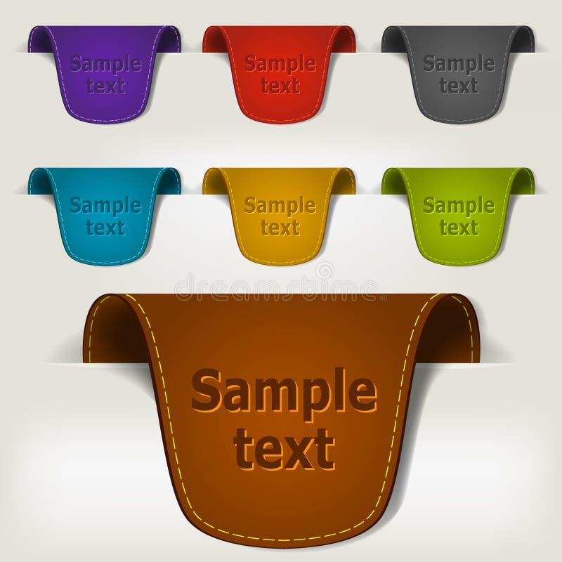 Ensemble d'étiquettes en cuir multicolores d'étiquette illustration libre de droits