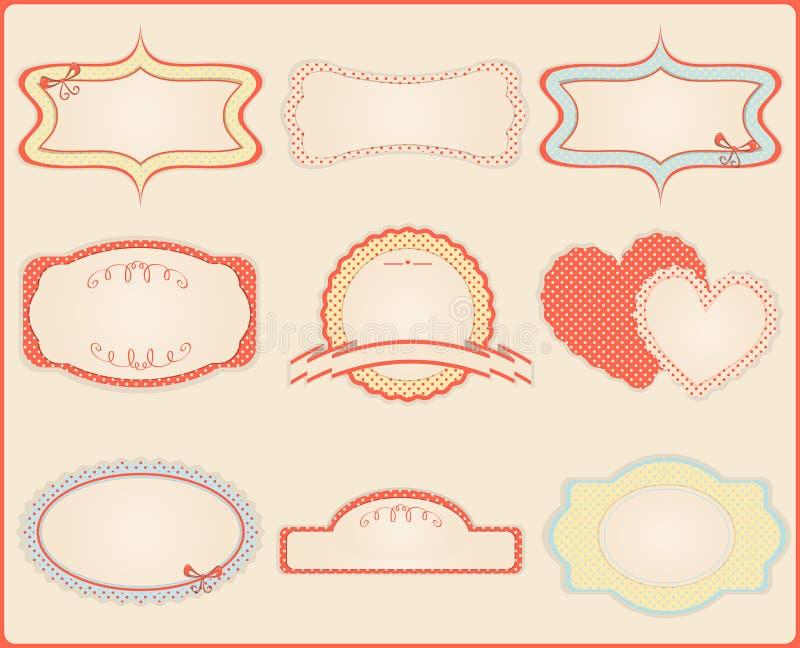 Ensemble d'étiquettes et d'étiquettes de cru. illustration libre de droits