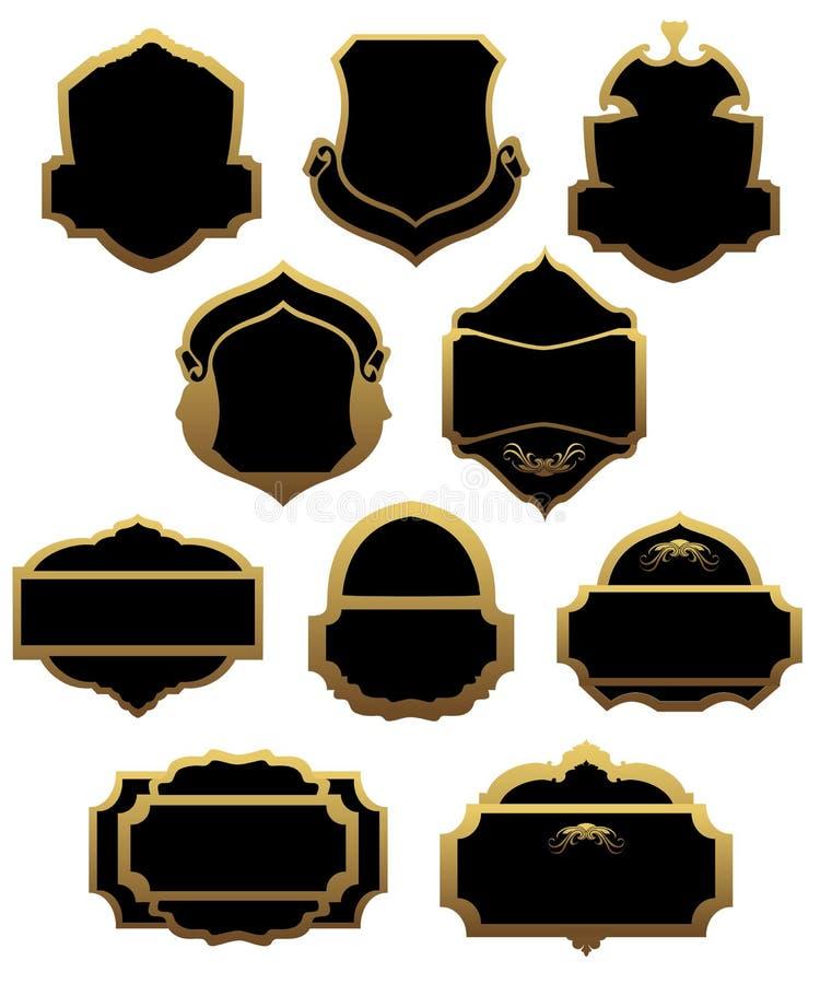 Ensemble d'étiquettes et de trames d'or illustration de vecteur