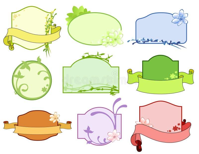 Ensemble d'étiquettes florales illustration stock