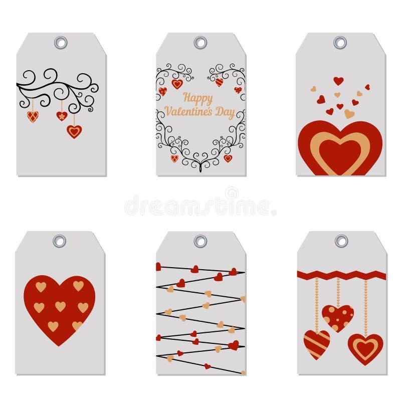 Ensemble d'étiquettes heureuses de cadeau de Saint-Valentin illustration de vecteur
