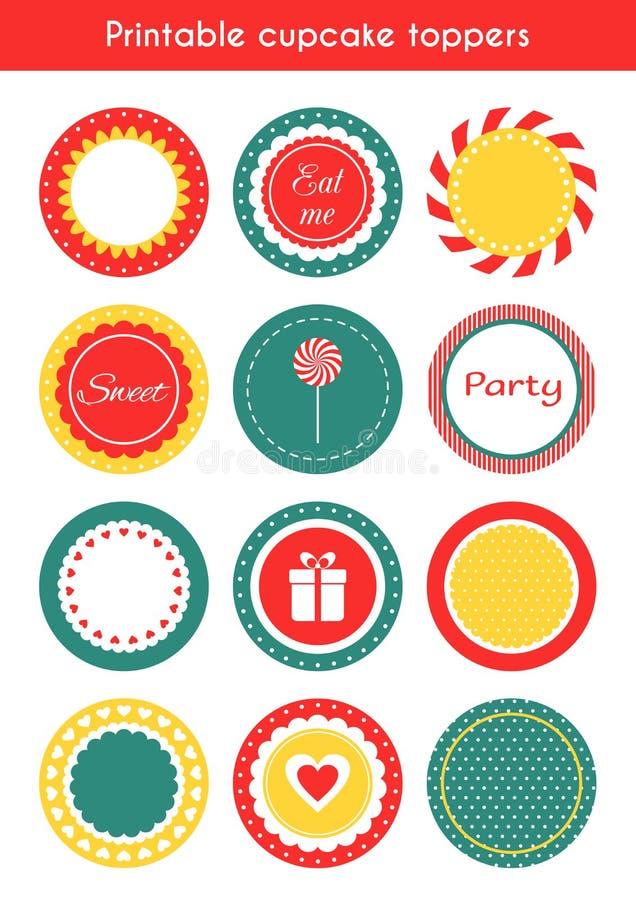 Ensemble d'étiquettes imprimables, hauts de forme de petit gâteau, labels illustration de vecteur