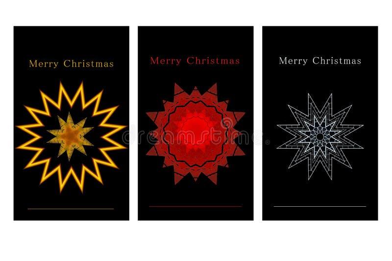 Ensemble d'étiquettes noires de cadeau de Noël illustration stock